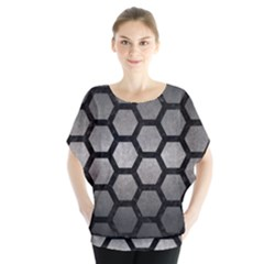 HEXAGON2 BLACK MARBLE & GRAY METAL 1 (R) Blouse