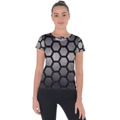 HEXAGON2 BLACK MARBLE & GRAY METAL 1 (R) Short Sleeve Sports Top