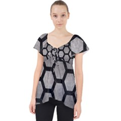 HEXAGON2 BLACK MARBLE & GRAY METAL 1 (R) Lace Front Dolly Top