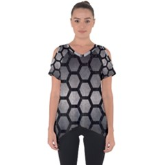 HEXAGON2 BLACK MARBLE & GRAY METAL 1 (R) Cut Out Side Drop Tee