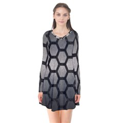 HEXAGON2 BLACK MARBLE & GRAY METAL 1 (R) Flare Dress