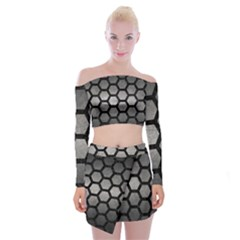 HEXAGON2 BLACK MARBLE & GRAY METAL 1 (R) Off Shoulder Top with Mini Skirt Set