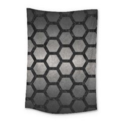 HEXAGON2 BLACK MARBLE & GRAY METAL 1 (R) Small Tapestry