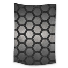 HEXAGON2 BLACK MARBLE & GRAY METAL 1 (R) Large Tapestry