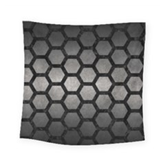 HEXAGON2 BLACK MARBLE & GRAY METAL 1 (R) Square Tapestry (Small)