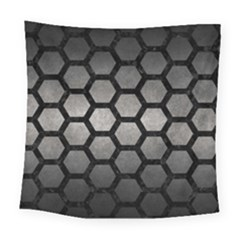 HEXAGON2 BLACK MARBLE & GRAY METAL 1 (R) Square Tapestry (Large)