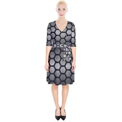 HEXAGON2 BLACK MARBLE & GRAY METAL 1 (R) Wrap Up Cocktail Dress