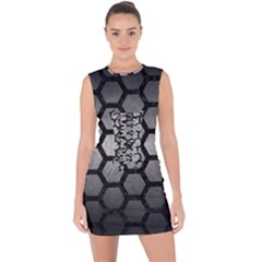 HEXAGON2 BLACK MARBLE & GRAY METAL 1 (R) Lace Up Front Bodycon Dress