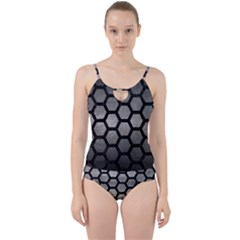 HEXAGON2 BLACK MARBLE & GRAY METAL 1 (R) Cut Out Top Tankini Set