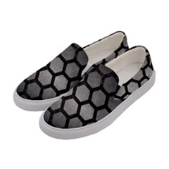 HEXAGON2 BLACK MARBLE & GRAY METAL 1 (R) Women s Canvas Slip Ons