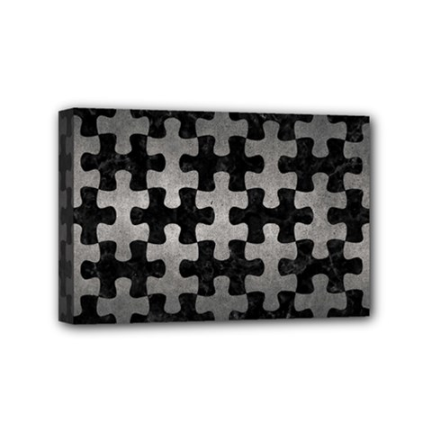 Puzzle1 Black Marble & Gray Metal 1 Mini Canvas 6  X 4  by trendistuff