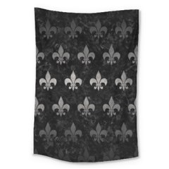 Royal1 Black Marble & Gray Metal 1 (r) Large Tapestry by trendistuff