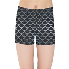 Scales1 Black Marble & Gray Metal 1 Kids Sports Shorts