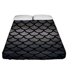 Scales1 Black Marble & Gray Metal 1 (r) Fitted Sheet (queen Size) by trendistuff