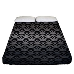 Scales2 Black Marble & Gray Metal 1 (r) Fitted Sheet (queen Size) by trendistuff