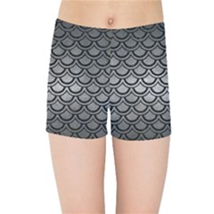 Scales2 Black Marble & Gray Metal 1 (r) Kids Sports Shorts