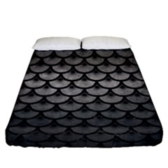 Scales3 Black Marble & Gray Metal 1 (r) Fitted Sheet (queen Size) by trendistuff
