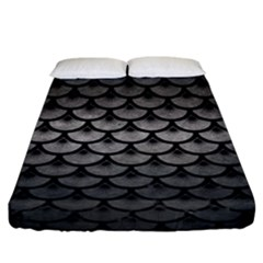 Scales3 Black Marble & Gray Metal 1 (r) Fitted Sheet (king Size) by trendistuff