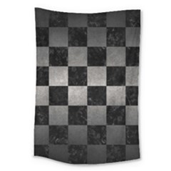Square1 Black Marble & Gray Metal 1 Large Tapestry by trendistuff