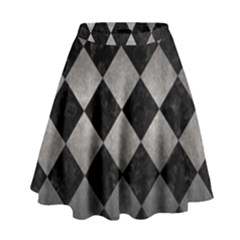 Square2 Black Marble & Gray Metal 1 High Waist Skirt by trendistuff