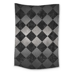 Square2 Black Marble & Gray Metal 1 Large Tapestry by trendistuff