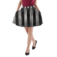 Stripes1 Black Marble & Gray Metal 1 A Line Pocket Skirt by trendistuff