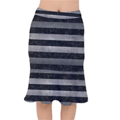 Stripes2 Black Marble & Gray Metal 1 Mermaid Skirt