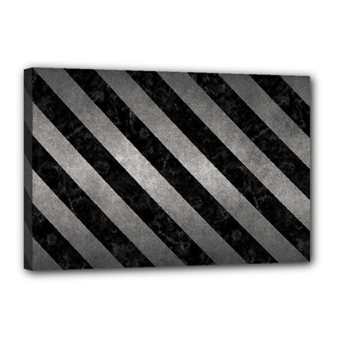 Stripes3 Black Marble & Gray Metal 1 (r) Canvas 18  X 12  by trendistuff