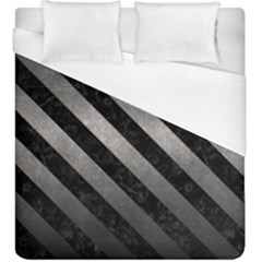 Stripes3 Black Marble & Gray Metal 1 (r) Duvet Cover (king Size) by trendistuff