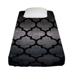 Tile1 Black Marble & Gray Metal 1 (r) Fitted Sheet (single Size) by trendistuff