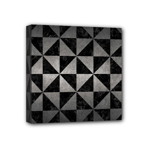 Triangle1 Black Marble & Gray Metal 1 Mini Canvas 4  X 4  by trendistuff