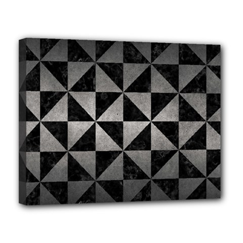 Triangle1 Black Marble & Gray Metal 1 Canvas 14  X 11  by trendistuff