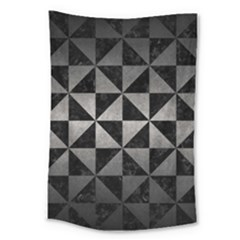 Triangle1 Black Marble & Gray Metal 1 Large Tapestry by trendistuff