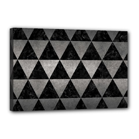 Triangle3 Black Marble & Gray Metal 1 Canvas 18  X 12  by trendistuff