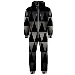 Triangle3 Black Marble & Gray Metal 1 Hooded Jumpsuit (men)  by trendistuff