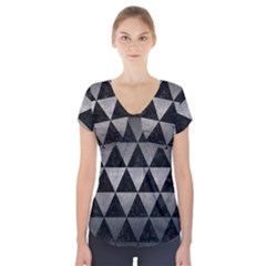 Triangle3 Black Marble & Gray Metal 1 Short Sleeve Front Detail Top by trendistuff
