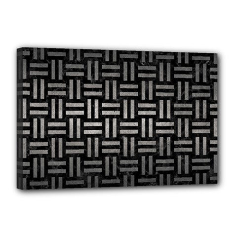 Woven1 Black Marble & Gray Metal 1 Canvas 18  X 12  by trendistuff