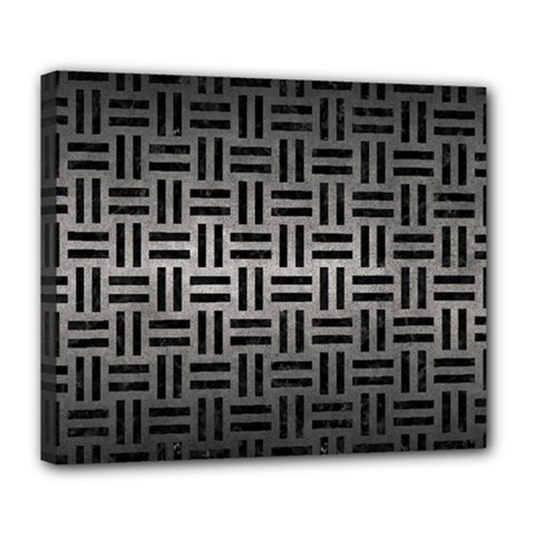 Woven1 Black Marble & Gray Metal 1 (r) Deluxe Canvas 24  X 20   by trendistuff