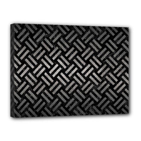 Woven2 Black Marble & Gray Metal 1 Canvas 16  X 12  by trendistuff