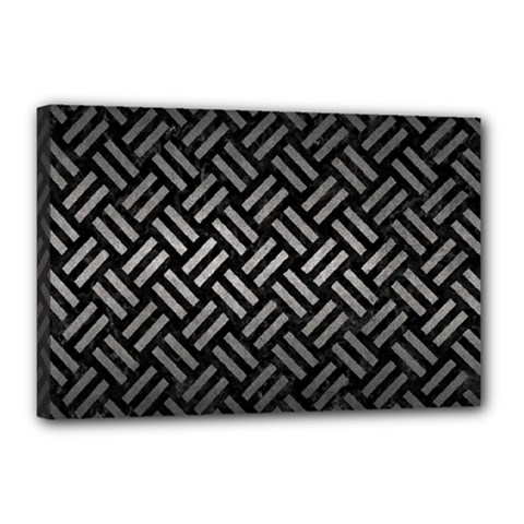Woven2 Black Marble & Gray Metal 1 Canvas 18  X 12  by trendistuff