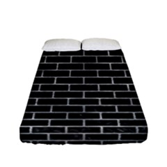 Brick1 Black Marble & Gray Metal 2 Fitted Sheet (full/ Double Size) by trendistuff