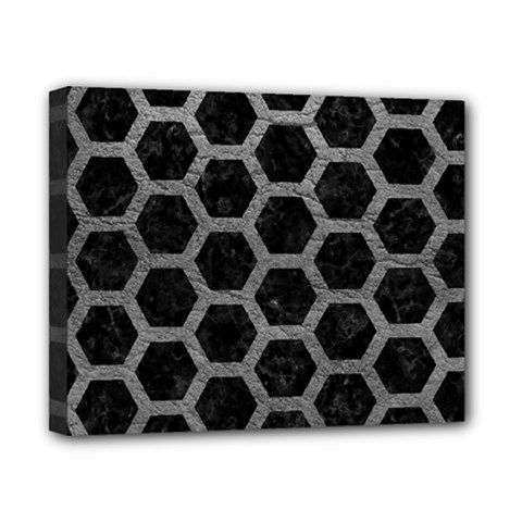 Hexagon2 Black Marble & Gray Leather Canvas 10  X 8  by trendistuff