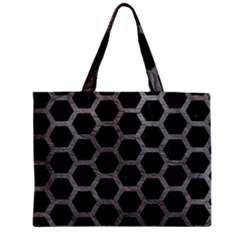 Hexagon2 Black Marble & Gray Leather Zipper Mini Tote Bag by trendistuff