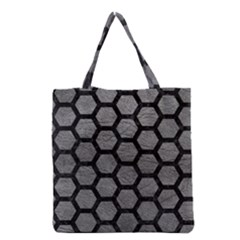 Hexagon2 Black Marble & Gray Leather (r) Grocery Tote Bag by trendistuff