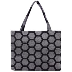 Hexagon2 Black Marble & Gray Leather (r) Mini Tote Bag by trendistuff