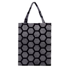 Hexagon2 Black Marble & Gray Leather (r) Classic Tote Bag by trendistuff