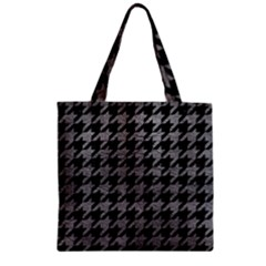 Houndstooth1 Black Marble & Gray Leather Zipper Grocery Tote Bag by trendistuff
