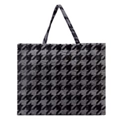 Houndstooth1 Black Marble & Gray Leather Zipper Large Tote Bag by trendistuff