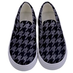 Houndstooth1 Black Marble & Gray Leather Kids  Canvas Slip Ons