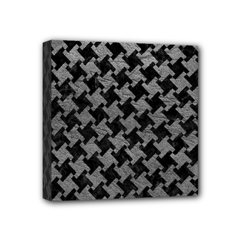 Houndstooth2 Black Marble & Gray Leather Mini Canvas 4  X 4  by trendistuff